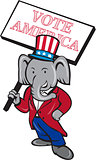 Republican Elephant Mascot Vote America Cartoon