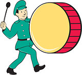 Marching Band Drummer Beating Drum