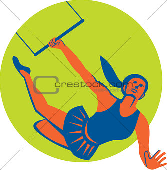Acrobat Flying Trapeze Act Circle Retro