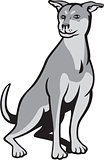Husky Shar Pei Cross Dog Sitting Cartoon