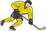 Ice Hockey Player In Action Cartoon