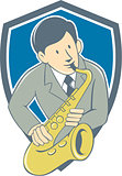 Musician Playing Saxophone Shield Cartoon