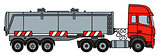 Red steel tank semitrailer