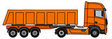 Orange dumper semitrailer