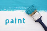 Stripe of turquoise paint, paintbrush and the word PAINT