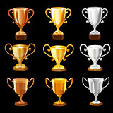 Trophy set on black background. Vector