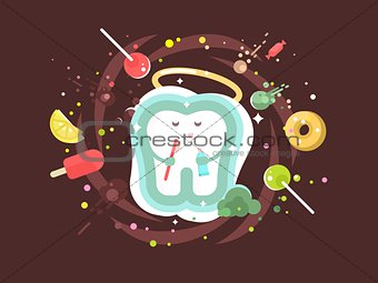 Tooth abstract design flat