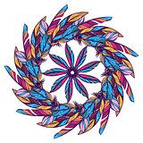 Seamless pattern with feathers. Round kaleidoscope