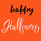 Happy Halloween text. Vector lettering on orange background. Flat halloween elements. Halloween card