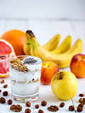 yogurt, with fresh fruits and nuts
