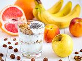 yogurt, with fresh fruits and nuts