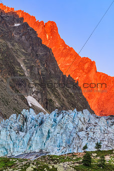 Argentiere Glacier in Chamonix Alps, France