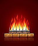 Burning flames of fire in brick stones fireplace vector