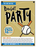 Baseball Party Invitation Template Illustration