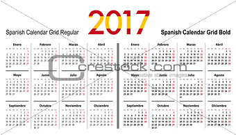 Calendar grid for 2017 with Spain flag colors