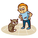 Child Scolds Cat Vector Illustration
