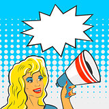 Pop Art Girl with a megaphone
