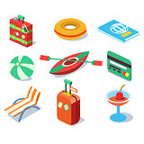 Travel Objects Icon Set Flat 3d Isomectric Modern Design Template