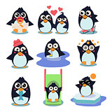 Penguin Set Illustration, with Penguins in Different Situations