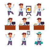 Set of Businessman Activities