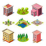 Set of the Isometric City Buildings and Shops