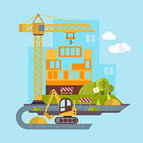 Construction Site, Building Flat Illustration