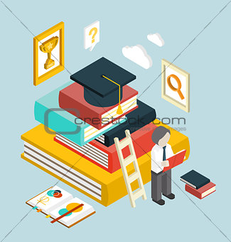 Flat 3d Web Isometric Education Graduation Infographic