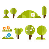 Trendy and Beautiful set of Flat Forest Elements