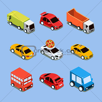 Flat 3d Isometric High Quality City Transport