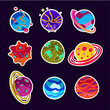 Fantasy Cartoon Planets Set