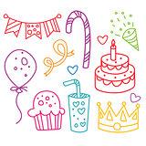Party Hand-Drawn Elements Vector Illustration Set