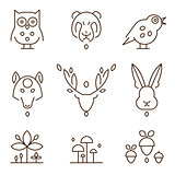 Animal Heads and Plants Icons Set Linear Style