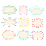 Outline Frames, Emblems Mono Line Graphic Vector Illustration