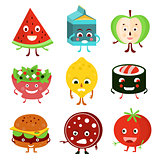 Funny Cartoon Food and Fruit