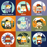 People of Different Nationalities Flat Style Vector Illustration Set