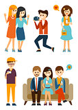 Young People Taking Pictures and Communicate in Social Media