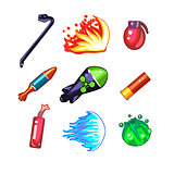 Weapon and Bomb Icons Vector Illustration Set