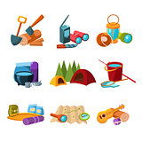 Hiking and Camping Icons Set Vector Illustration