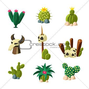 Blossom Cactus and Skull Vector Illustration Set