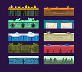 Different materials and textures for the game. Vector flat