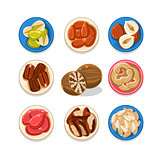 Nut Icon Set Vector Illustration