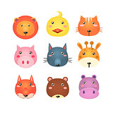 Cute Set of Cartoon Animal Heads Vector Illustration