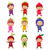 Cute Children in Fruit and Berry Costumes Vector Illustration