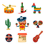 Traditional Mexical Objects Vector Illustration