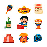 National Mexical Objects Vector Illustration