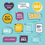 collection of premium promo sale stickers.
