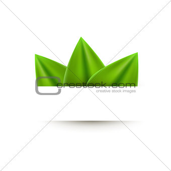 Green realistic leaf paper banner abstract background