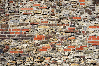Old wall from stones and bricks