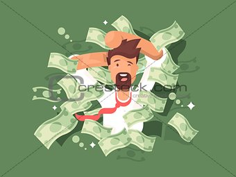 Man in a pile of money