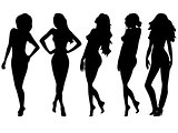 Set of five female silhouettes over white